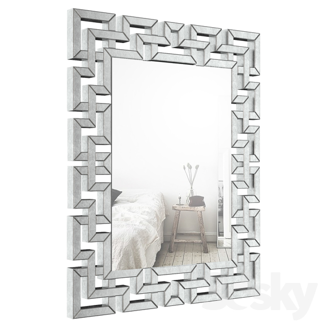3D Models: Mirror – Rectangle Ornate Geometric Wall Mirror With Regard To Rectangle Ornate Geometric Wall Mirrors (#1 of 20)