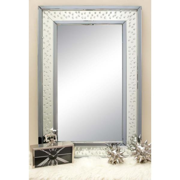 Inspiration about 47 In. X 32 In. Rectangular Jewelled Glass Wall Mirror Inside Rectangle Plastic Beveled Wall Mirrors (#9 of 20)