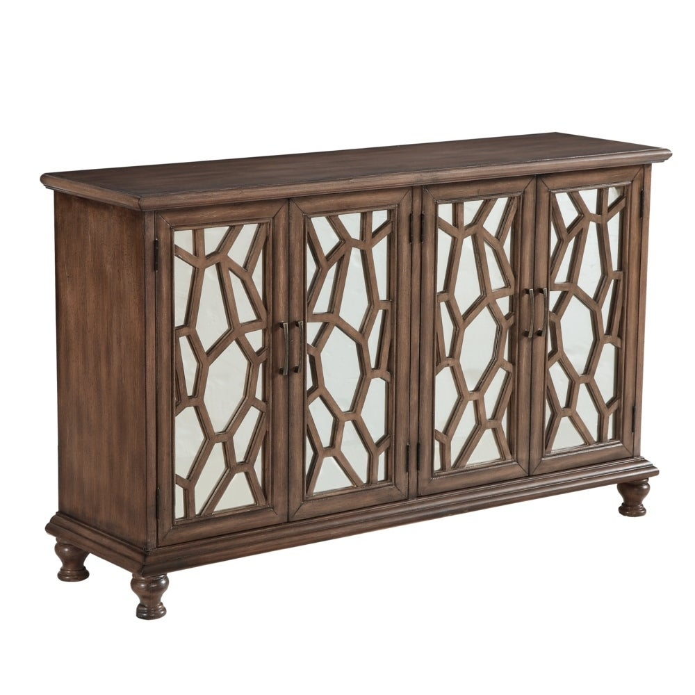 """60"""" Credenza Accent Cabinet With Four Wooden Mirrored Doors In Brown Finish Inside Most Recent Candace Door Credenzas (#2 of 20)"""