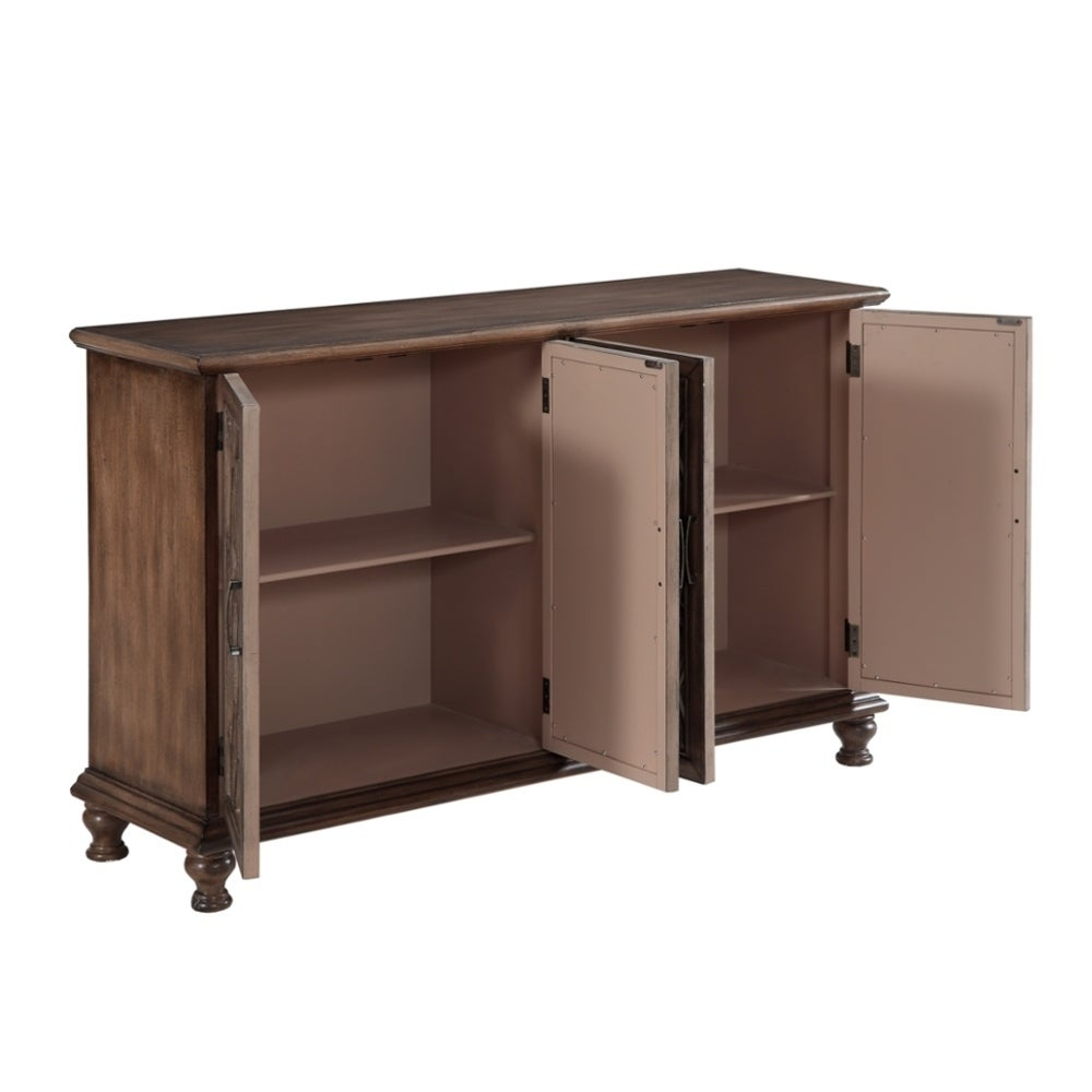 """60"""" Credenza Accent Cabinet With Four Wooden Mirrored Doors In Brown Finish With Most Popular Candace Door Credenzas (#3 of 20)"""