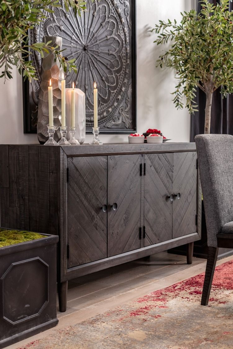 "60"" Traditional Dining Room Server In Dark Gray 