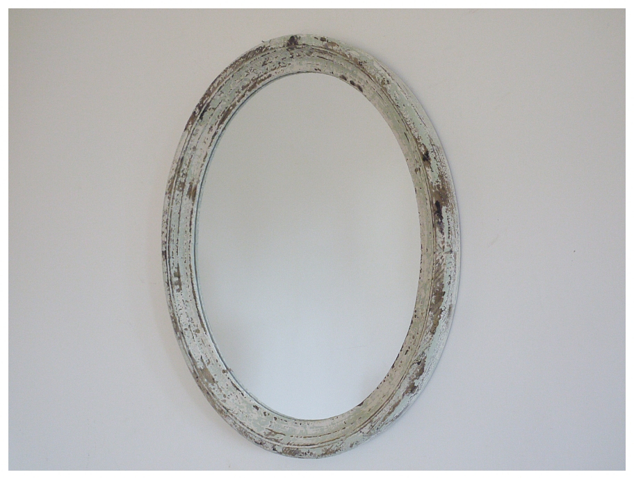 A Superb Oval Distressed Finish Wooden Wall Mirror (#2 of 20)
