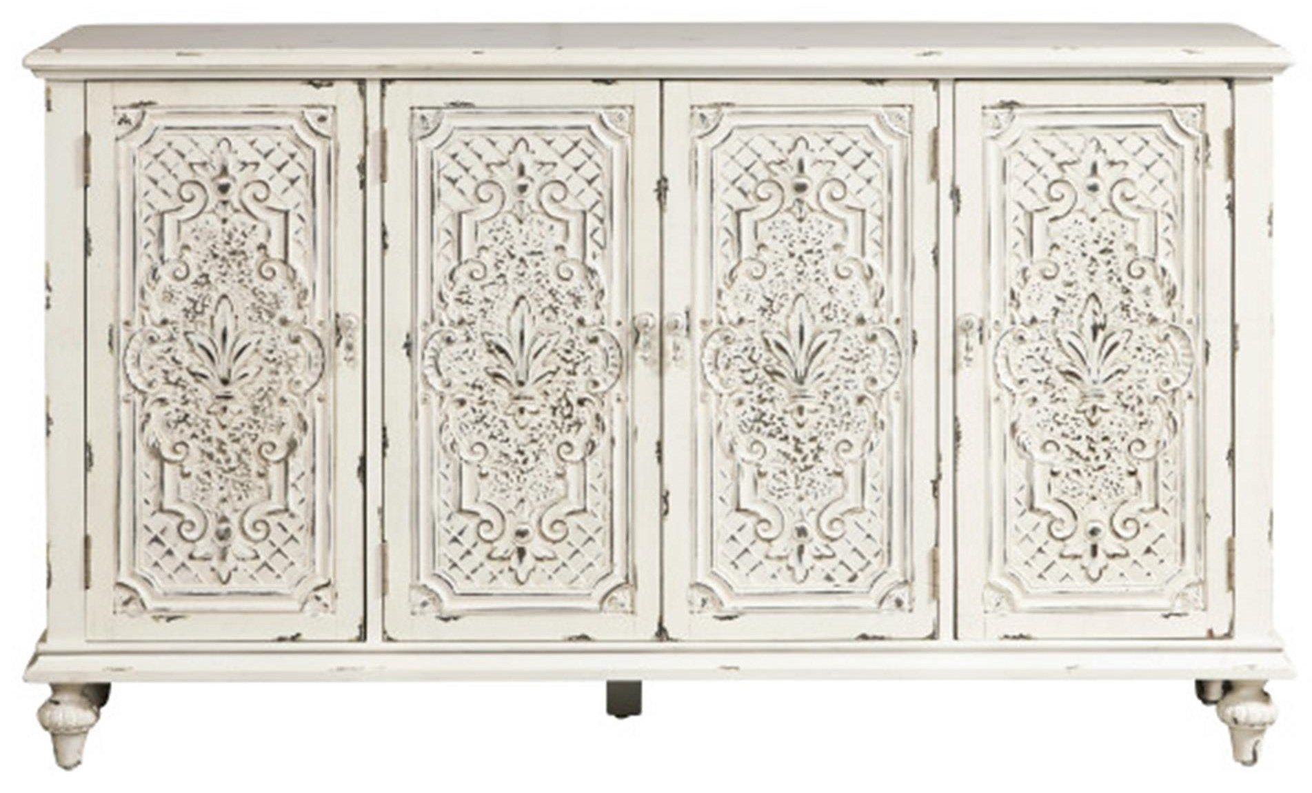 Accents Ornate 4 Door Credenzapulaski Furniture | Home Within 2017 Tott And Eling Sideboards (#2 of 20)