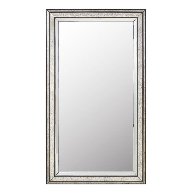 Ainsley Mottled Silver Frame Floor Mirror With Silver Frame Accent Mirrors (#4 of 20)