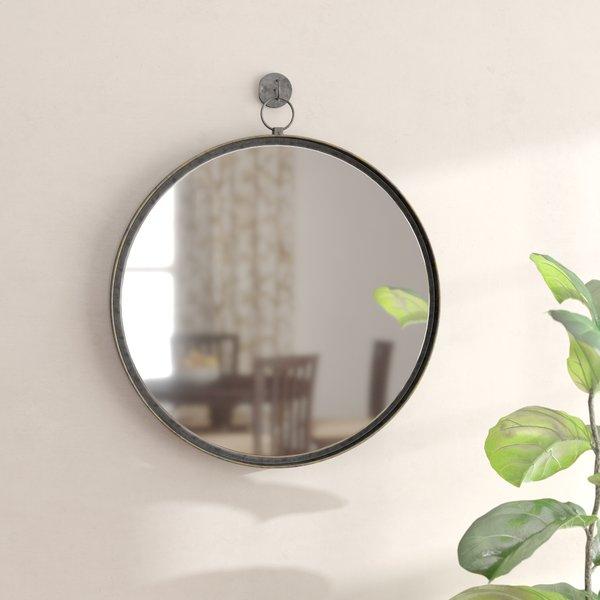 Antique Brass Round Mirror | Wayfair Throughout Tata Openwork Round Wall Mirrors (#2 of 20)