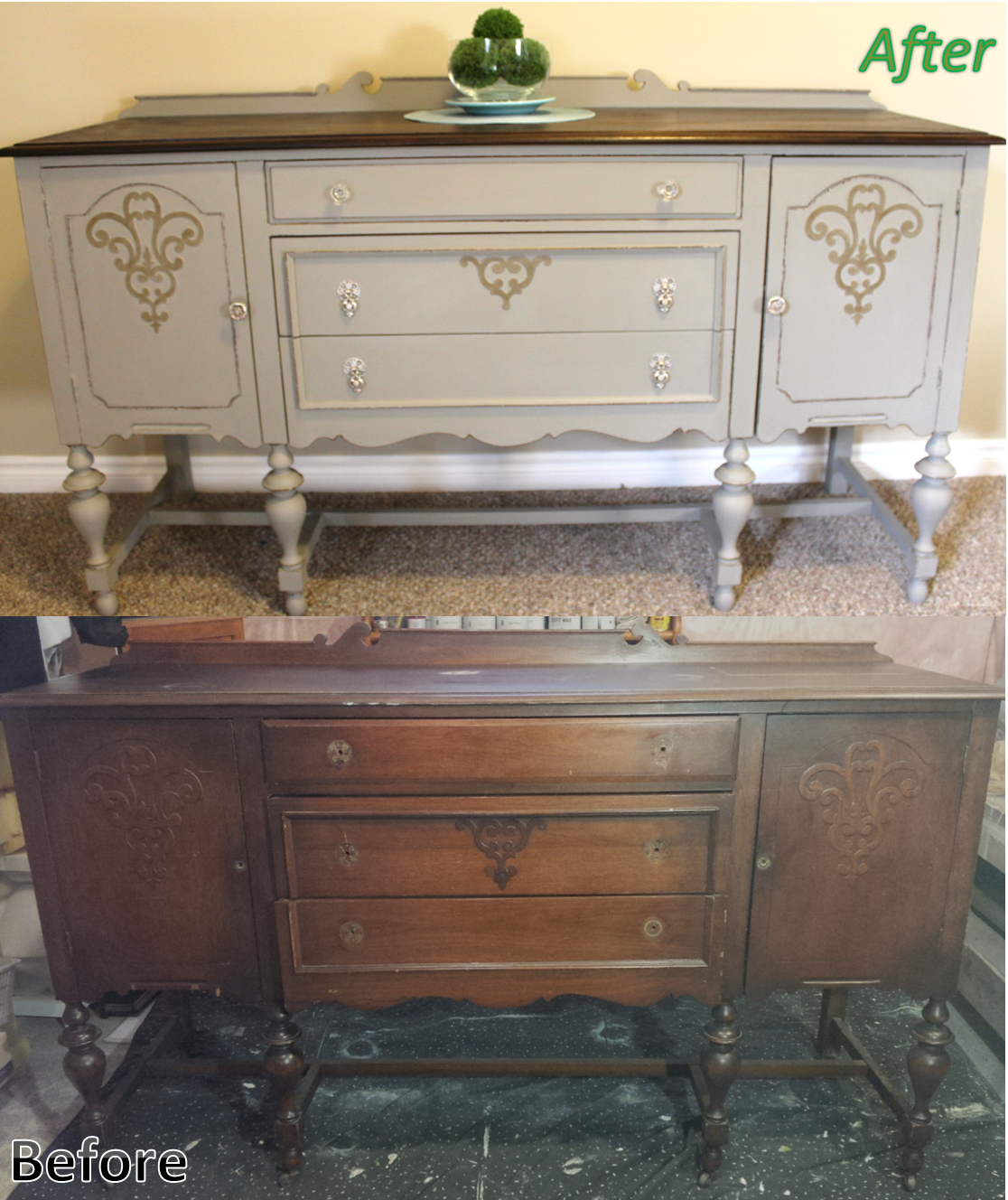 Antique Solid Cherry Refinished Sideboard / Buffet (View 16 of 20)