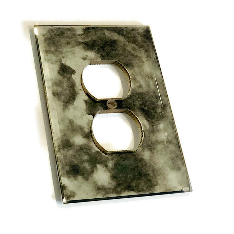 Antiqued Beveled Mirror Outlet Cover Plate – Decorative Electrical Outlet  Glass Cover – Single Or Double Outlet Gang Available Inside Kristy Rectangular Beveled Vanity Mirrors In Distressed (#3 of 20)