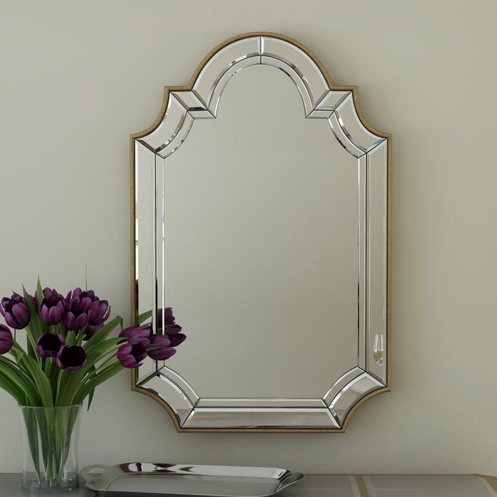 Arch/crowned Top Champagne Wall Mirror Within Ekaterina Arch/crowned Top Wall Mirrors (#8 of 20)