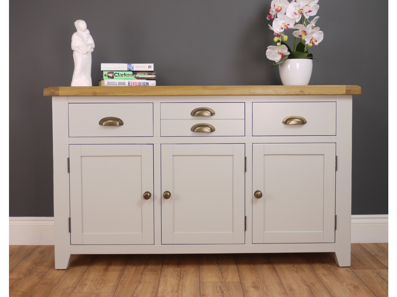 Arklow Light Grey Painted Large Sideboard Oak City Dining Regarding Newest Courtdale Sideboards (#2 of 20)