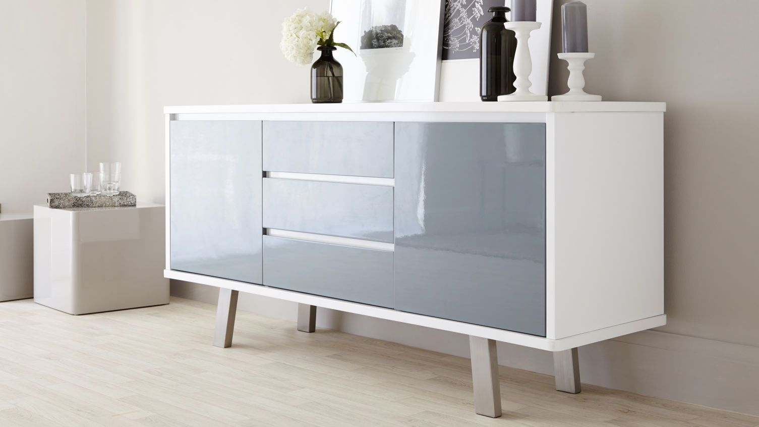 Assi White And Grey Gloss Sideboard | Danetti | Stylish In Most Recently Released Thite Sideboards (View 1 of 20)