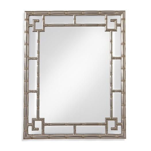 Bamboo Motif Molded Silver Frame Wall Mirror Inside Silver Frame Accent Mirrors (#5 of 20)