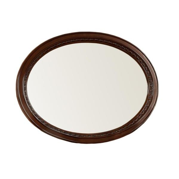 Barber 37 In H In X 49 In W Oval Wood Framed Wall Mirror Regarding Oval Wood Wall Mirrors (#3 of 20)