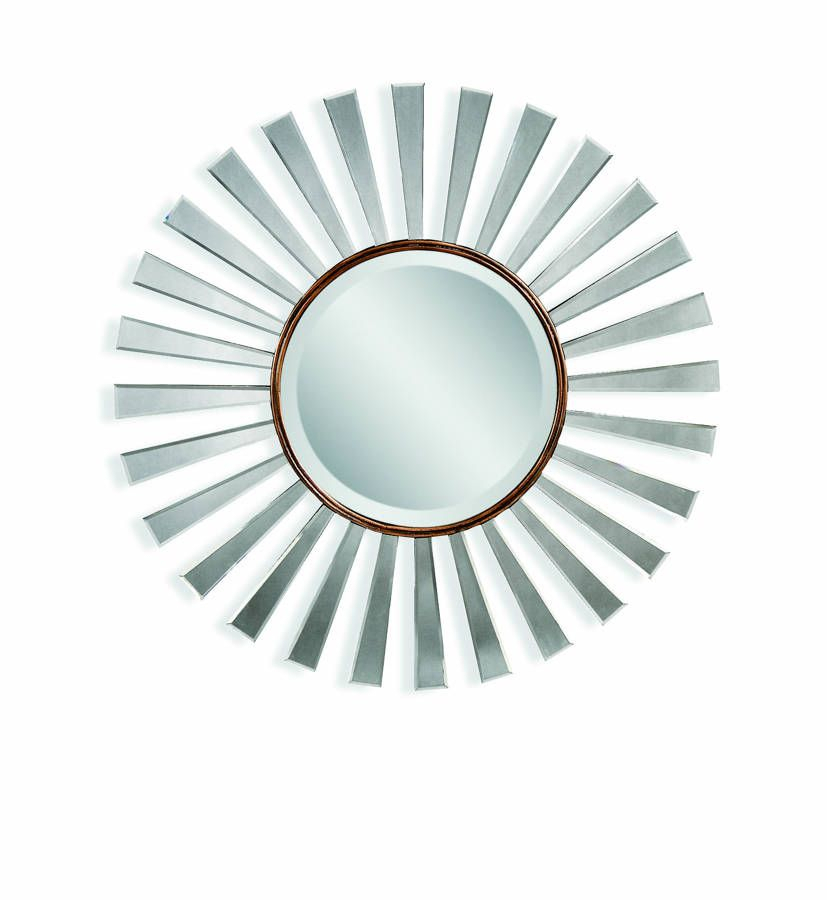 Bassett Mirror Florenza Modern Bronze Gold Wood Wall Mirror Intended For Point Reyes Molten Round Wall Mirrors (#3 of 20)