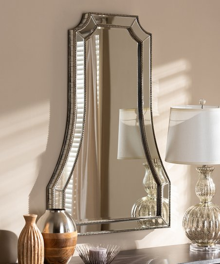 Baxton Studio Antique Silver Sanna Wall Mirror With Regard To Beaded Accent Wall Mirrors (#2 of 20)