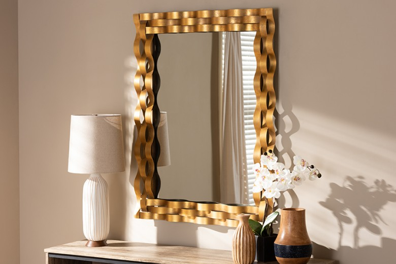 Baxton Studio Arpina Modern And Contemporary Antique Gold Finished Rectangular Accent Wall Mirror With Rectangle Accent Wall Mirrors (View 13 of 20)