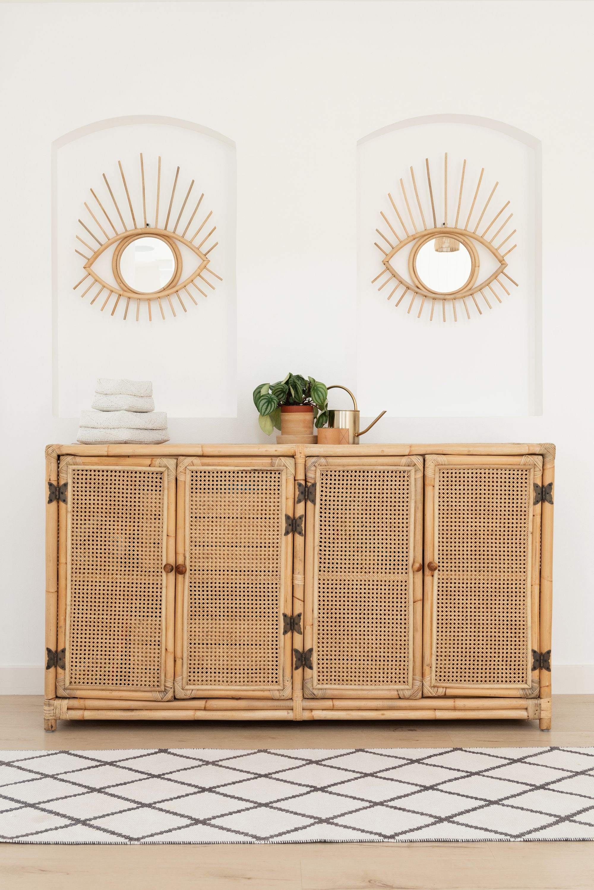 Boho Home Decor, Open Rattan Sideboard, Sideboard Styling Within Most Popular Joyner Sideboards (View 11 of 20)