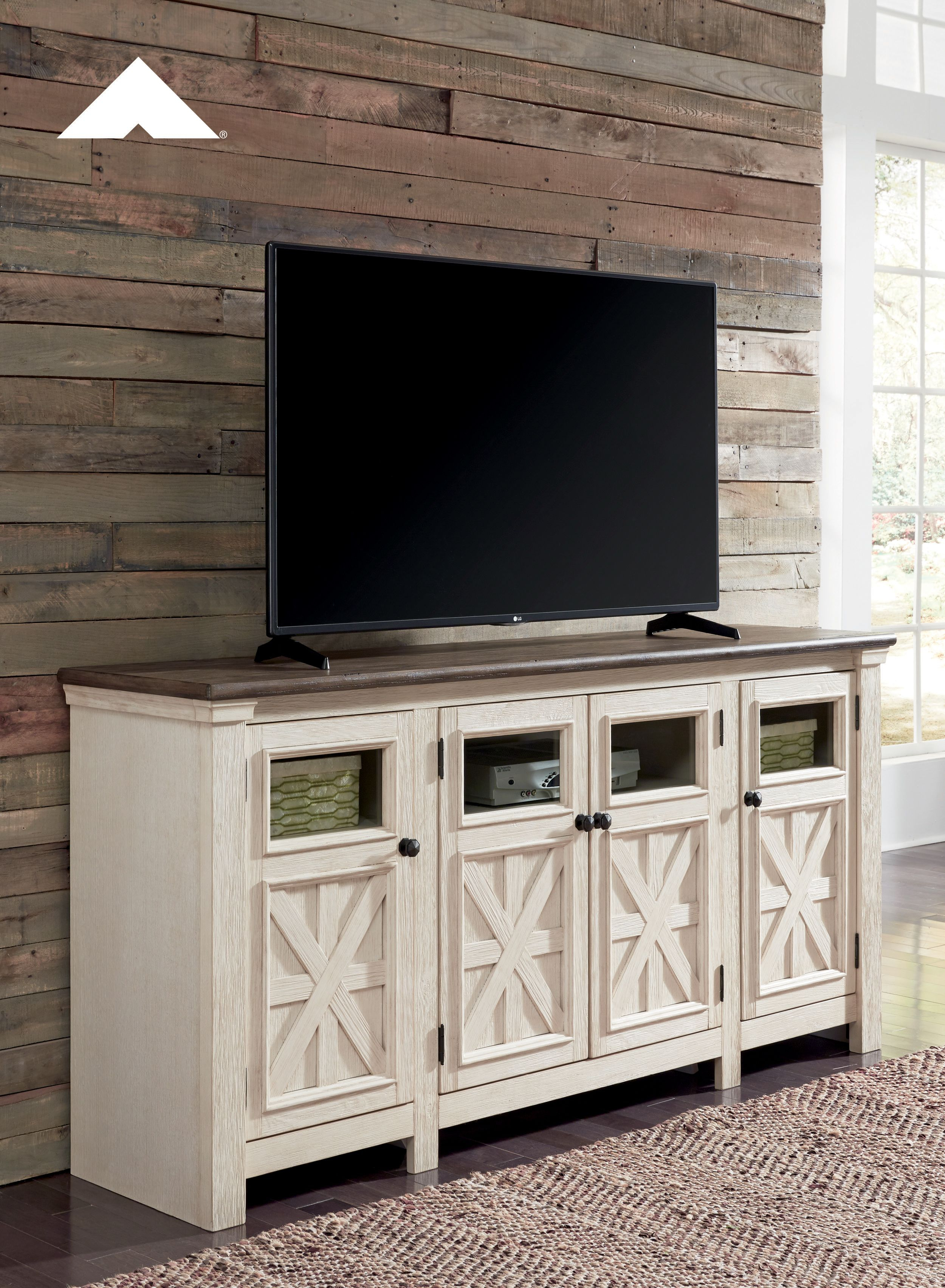 """Bolanburg Two Tone Antique White And Weathered Oak Extra Pertaining To 2018 Parmelee Tv Stands For Tvs Up To 65"""" (#2 of 20)"""