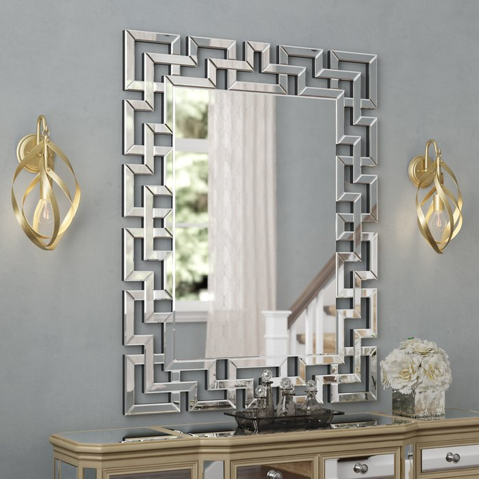 Caja Rectangle Glass Frame Wall Mirror Pertaining To Pennsburg Rectangle Wall Mirrors (#2 of 20)