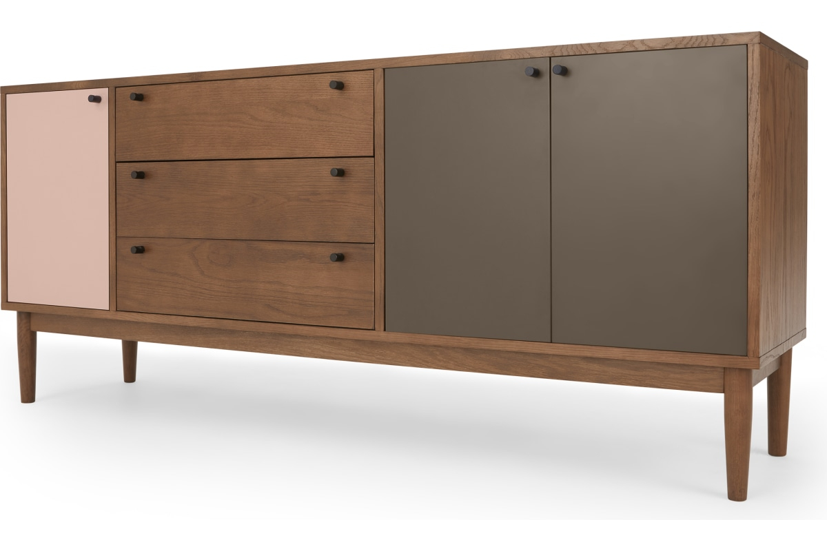Campton Sideboard, Dunkle Eiche Und Rosa – Made Intended For Most Recent Sideboards By Wildon Home (#4 of 20)