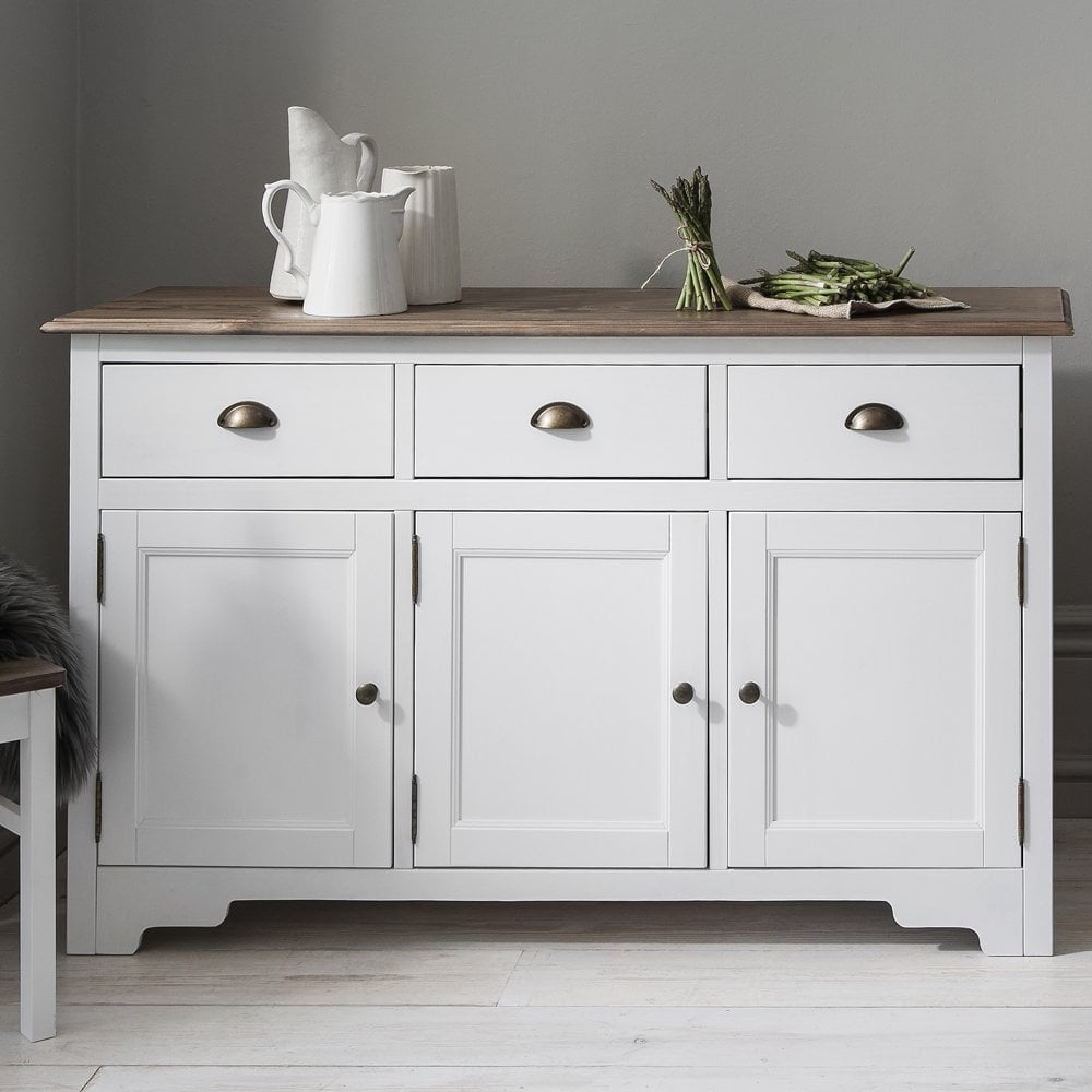 Canterbury 3 Drawer Sideboard Cabinet With Solid Doors In White And Dark Pine With Most Popular Thite Sideboards (View 3 of 20)