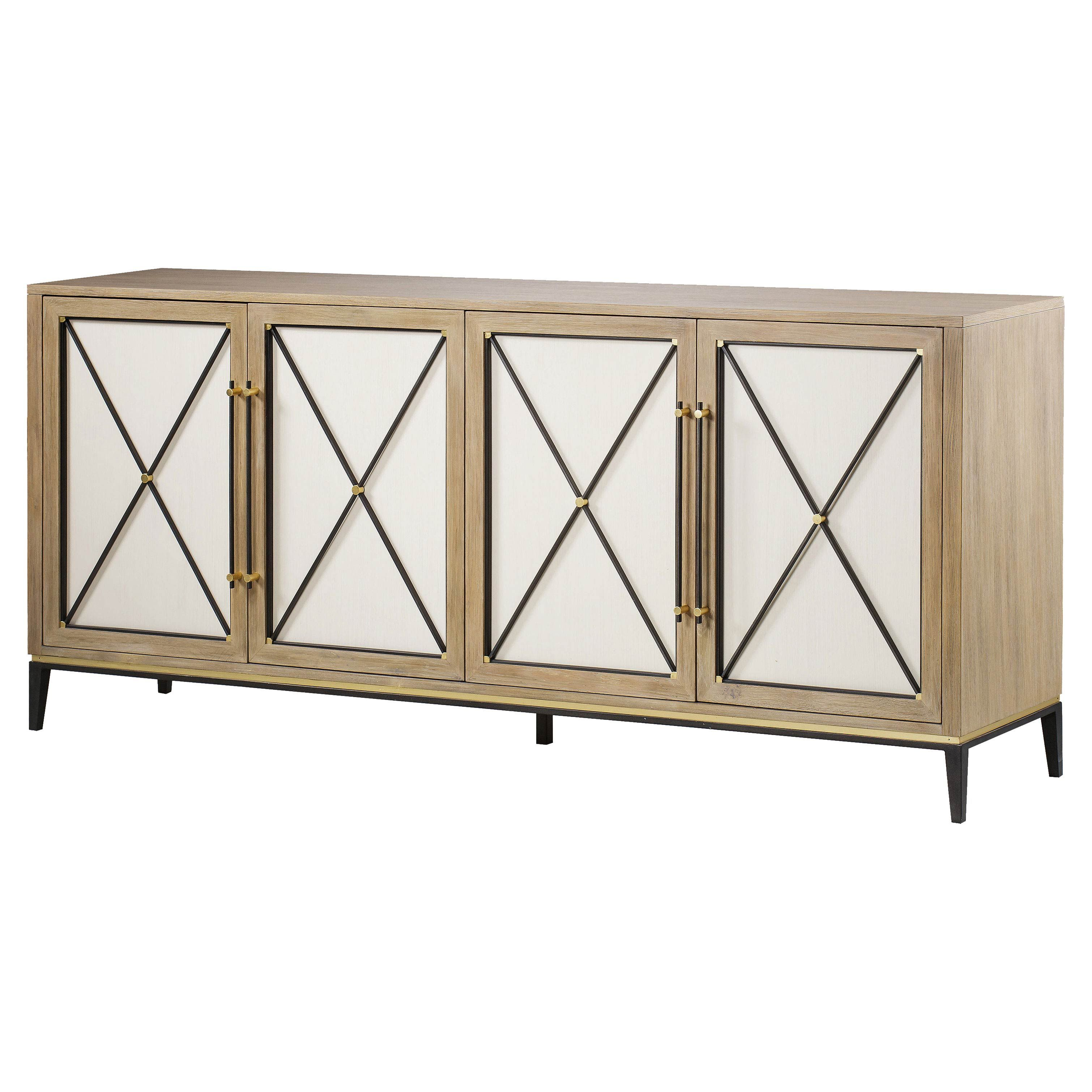 Carson Credenza Modern Oak 4 White Door Buffet Sideboard Intended For Best And Newest Ethelinda Media Credenzas (View 10 of 20)