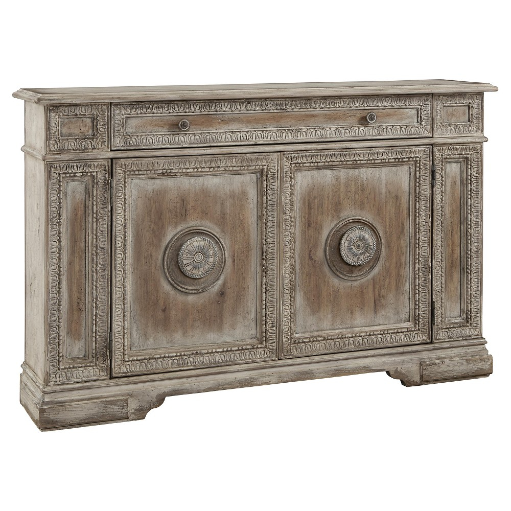 Cate Weathered Pecan Carved Door Credenza – Brown – Pulaski In Current Hewlett Sideboards (#3 of 20)