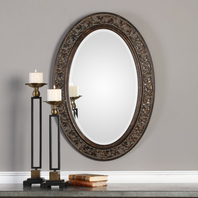 Charland Beveled Accent Mirror In Oval Metallic Accent Mirrors (#2 of 20)