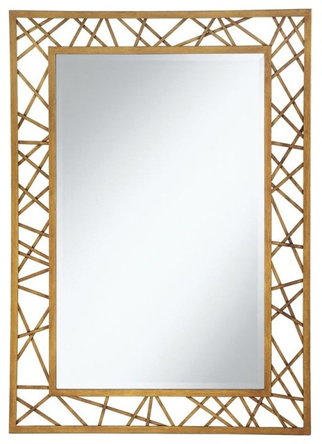 Coaster Accent Mirrors Rectangular Mirror With Geometric Gold Frame Throughout Rectangle Accent Mirrors (#5 of 20)