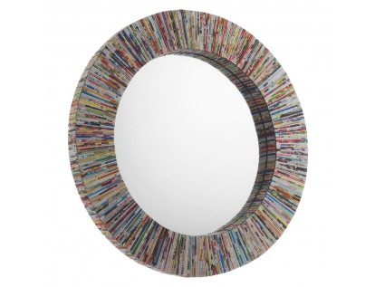 Cohen Multi Coloured Recycled Magazine Round Wall Mirror Regarding Round Eclectic Accent Mirrors (#2 of 20)