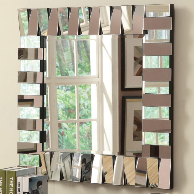 Contemporary Accent Wildon Home Wall Decor Mirror Square Silver Layered  Panels With Regard To Egor Accent Mirrors (#5 of 20)