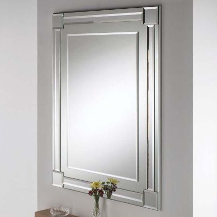 Contemporary Wall Mirror – Rectangular Beveled Silver With Modern & Contemporary Beveled Wall Mirrors (View 7 of 20)