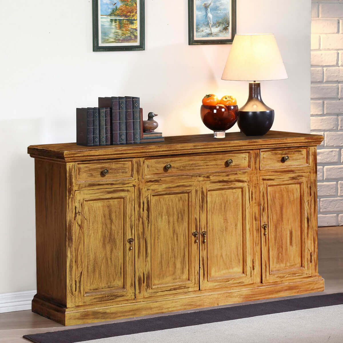 Courtdale Rustic Solid Wood 4 Door 3 Drawer Large Sideboard Cabinet With Regard To Current Courtdale Sideboards (#6 of 20)