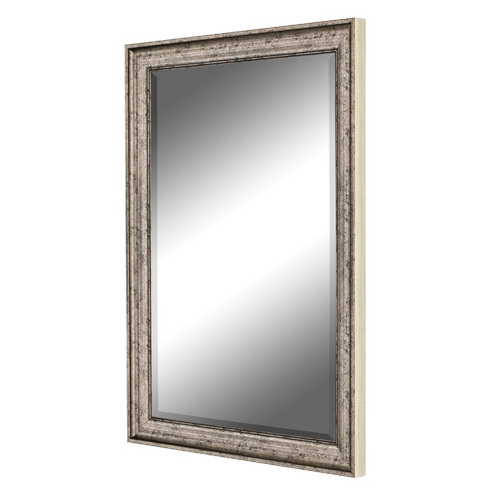 Curren Vintage Beveled Silver Wall Mirror In Kristy Rectangular Beveled Vanity Mirrors In Distressed (#5 of 20)