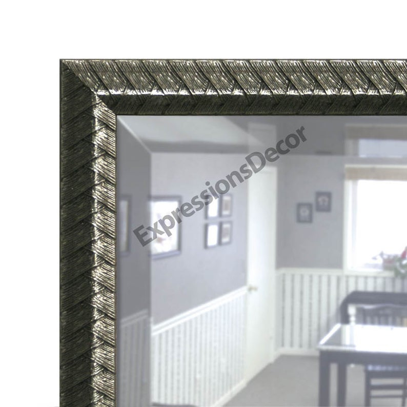 Custom Pewter Silver Grey Weaved Decorative Wall Mirror – Beveled Glass – Free Shipping Regarding Rectangle Pewter Beveled Wall Mirrors (View 20 of 20)
