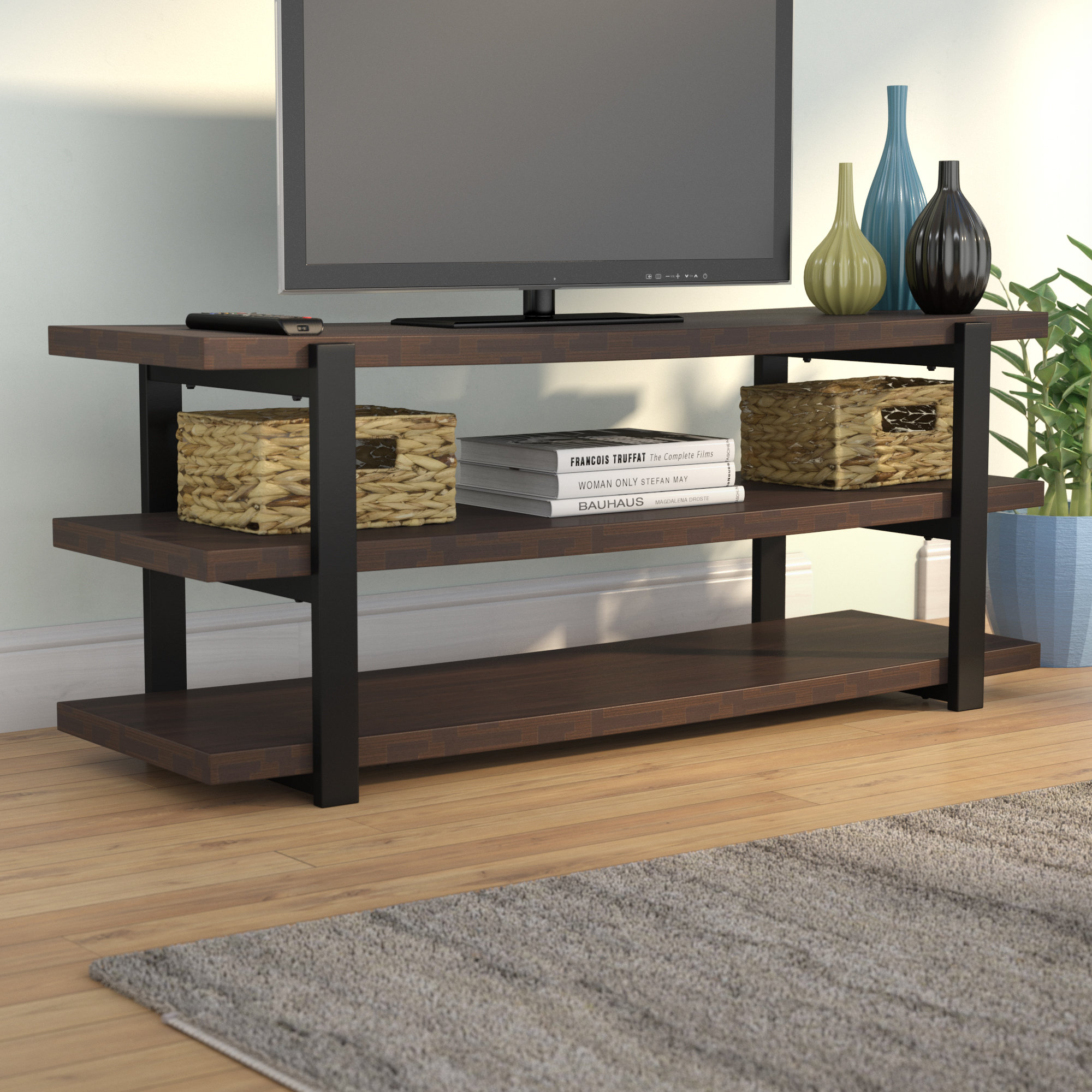 "Inspiration about Dark Brown Wood Tv Stands You'll Love In 2019 | Wayfair Throughout 2018 Ericka Tv Stands For Tvs Up To 42"" (#11 of 20)"