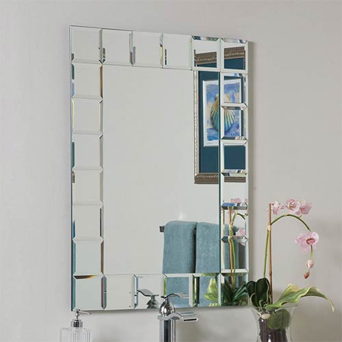 Decor Wonderland Montreal Modern Rectangular Beveled Bathroom Mirror Pertaining To Modern Rectangle Wall Mirrors (#7 of 20)