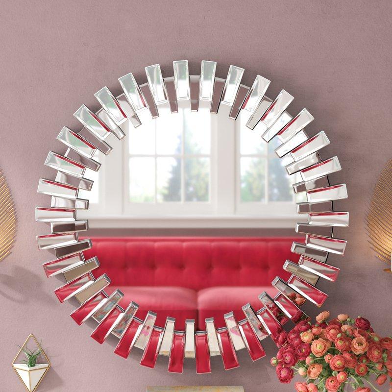 Deniece Sunburst Round Wall Mirror Inside Tata Openwork Round Wall Mirrors (#3 of 20)