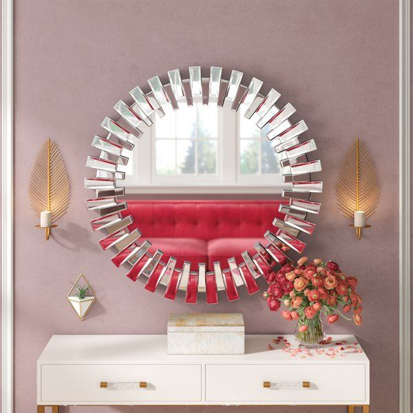 Deniece Sunburst Round Wall Mirror | Living Room | Round For Deniece Sunburst Round Wall Mirrors (#9 of 20)