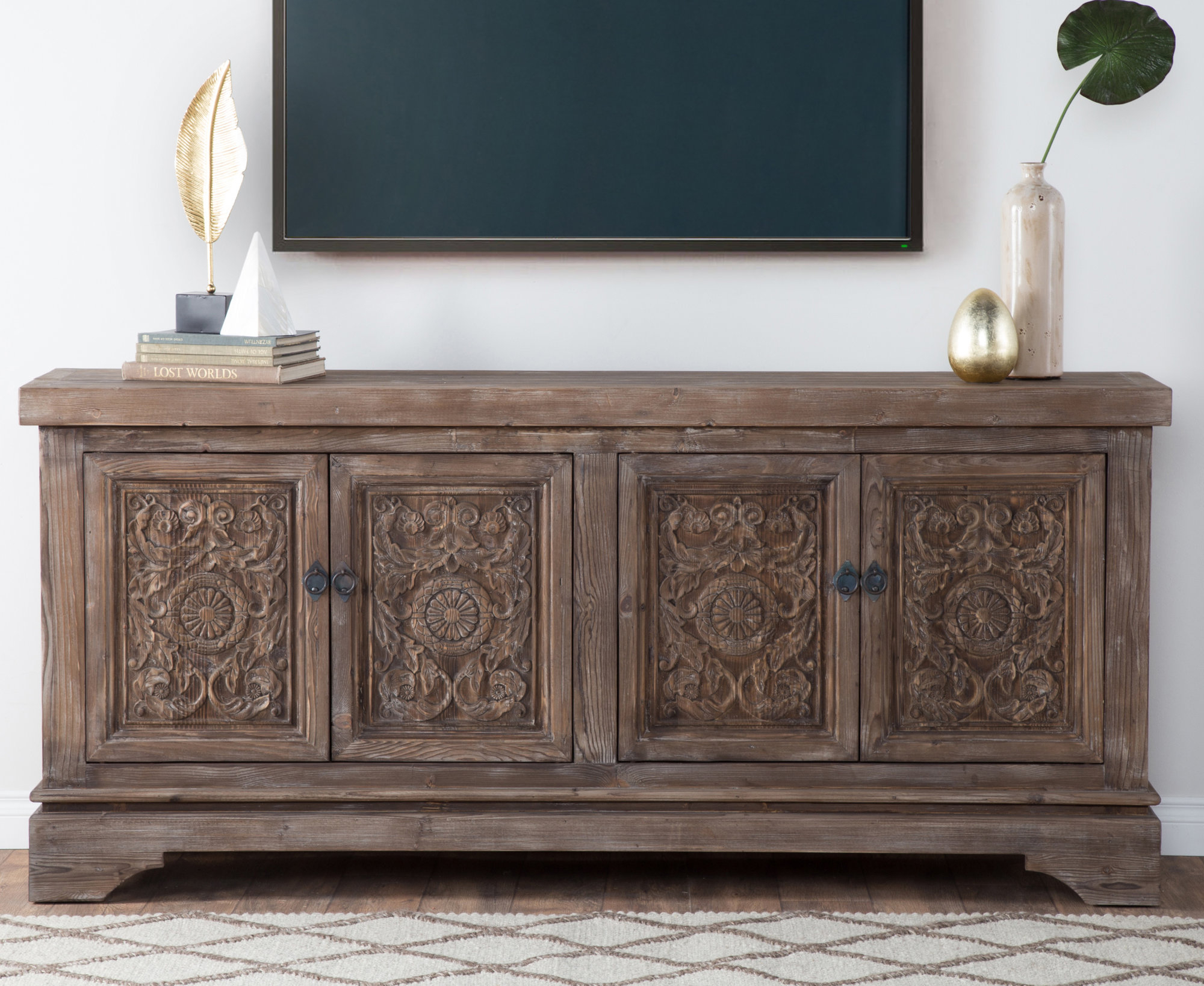 Inspiration about Details About Bungalow Rose Steinhatchee Reclaimed Pine 4 Door Sideboard Regarding Latest Steinhatchee Reclaimed Pine 4 Door Sideboards (#3 of 20)