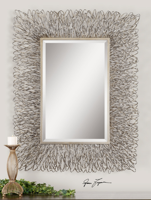 "Inspiration about Details About Contemporary Silver Wire Metal Wall Mirror Large 56"" Modern Decor With Regard To Modern Rectangle Wall Mirrors (#11 of 20)"