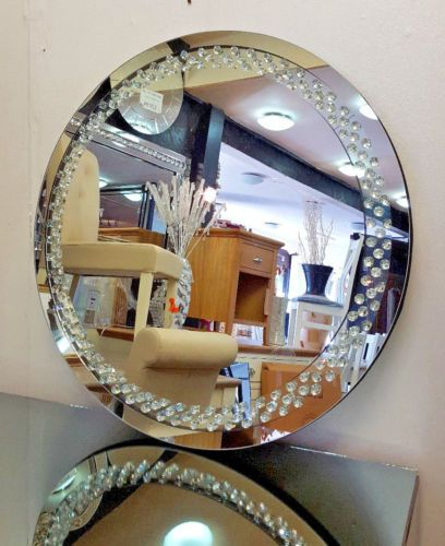 Inspiration about Details About Floating Crystal Round Wall Mirror Elegent Throughout Point Reyes Molten Round Wall Mirrors (#10 of 20)