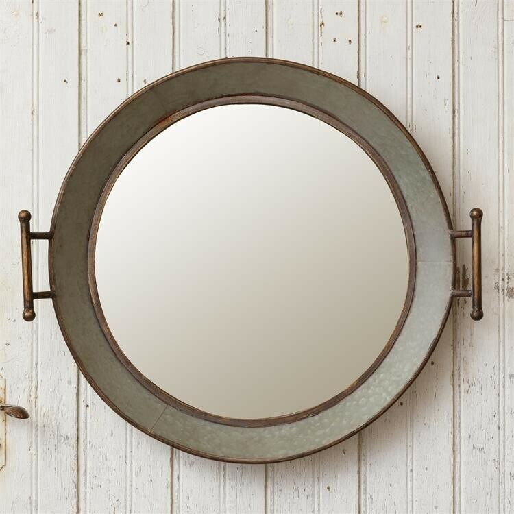 "Inspiration about Details About Galvanized Round Wash Tub Wall Mirror Farmhouse Country Metal 24.5"" Regarding Round Galvanized Metallic Wall Mirrors (#19 of 20)"