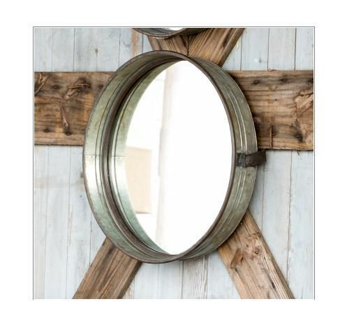 Inspiration about Details About New Round Silver Wall Mirror Hanging Rope With Round Galvanized Metallic Wall Mirrors (#5 of 20)