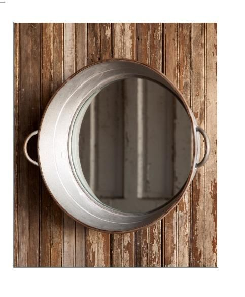 Inspiration about Details About New Rustic Farmhouse Metal Galvanized Round Intended For Round Galvanized Metallic Wall Mirrors (#8 of 20)