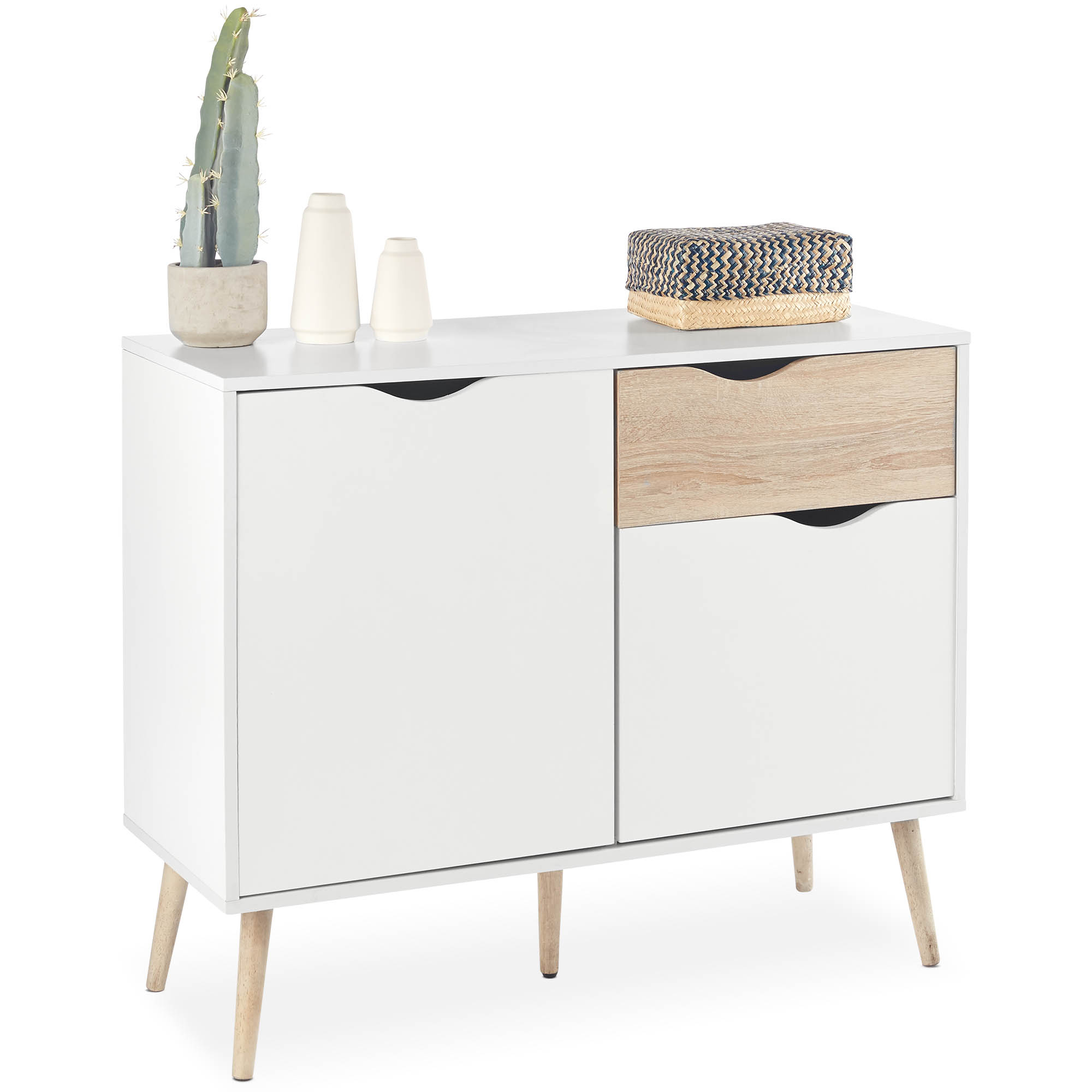 Details About Vonhaus Sideboard Scandinavian Nordic Style – White And Light Oak Effect In Recent Thite Sideboards (View 6 of 20)
