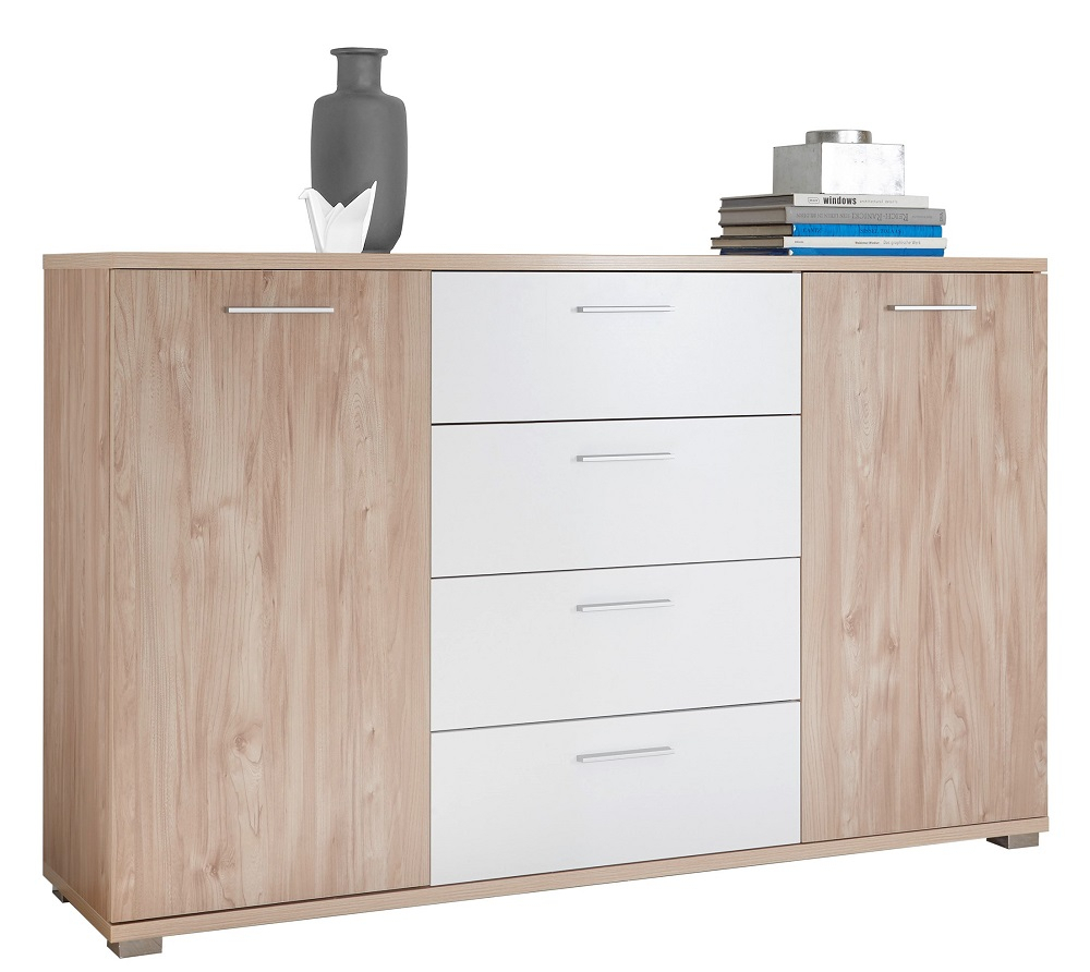 Inspiration about Details Zu Kommode Malibu 2 Trg. Sideboard Schubkasten Kara Glas With Most Up To Date Malibu 2 Door 4 Drawer Sideboards (#17 of 20)