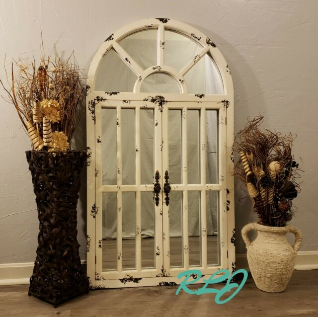 Distressed Rustic Country Arched Window Door Wood Mirror Vintage Wall Art  Decor Inside Faux Window Wood Wall Mirrors (View 1 of 20)