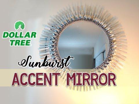 "Diy Dollar Tree 19"" Sunburst Accent Mirror – $12 – Youtube Inside Jarrod Sunburst Accent Mirrors (#2 of 20)"