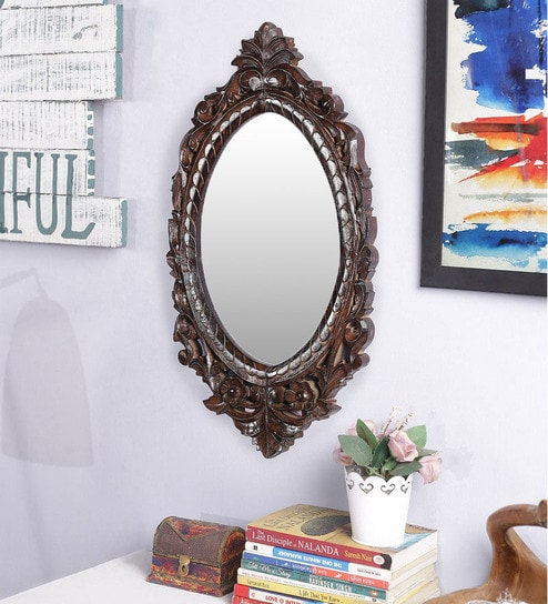 Elaine Oval Wall Mirror In Carved Solid Wood Frameart Of Jodhpur In Oval Wood Wall Mirrors (#7 of 20)