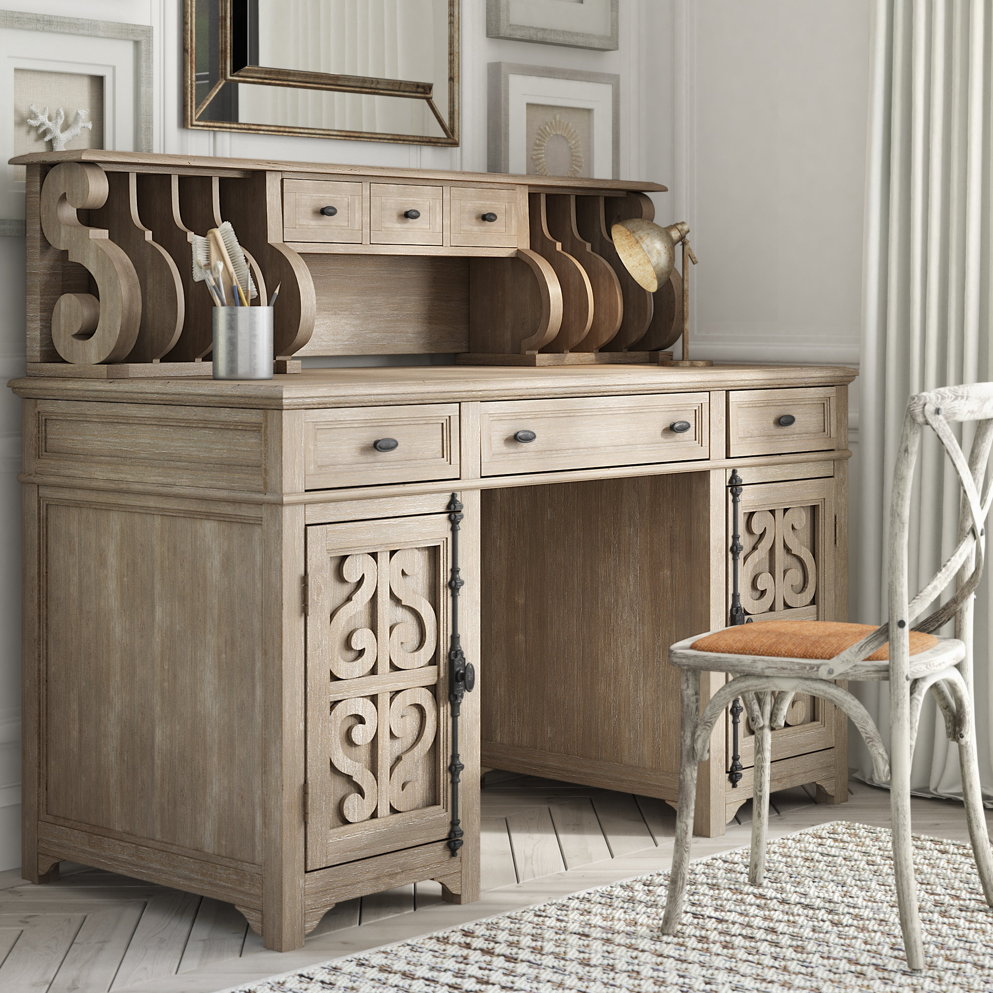 Ellenton Executive Desk With Hutch With 2017 Ellenton Sideboards (#11 of 20)